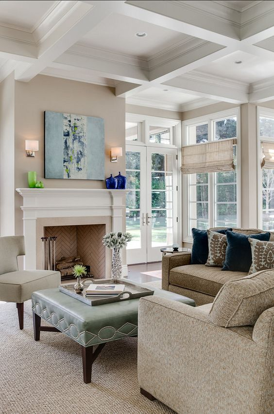 white coffered ceiling in a living room