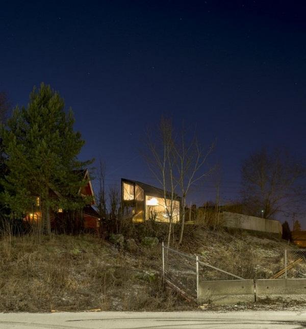 panoramic windows asymmetrically house modern architecture viewpoint backyard evening