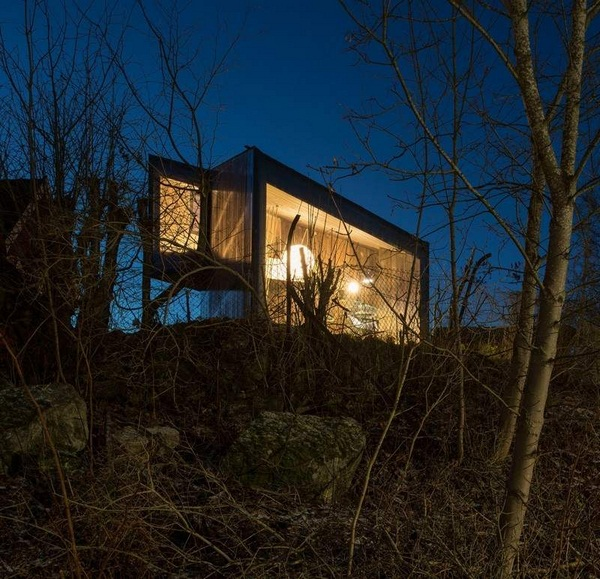 panoramic windows work rooms of asymmetrically house modern architecture blackwood varnished