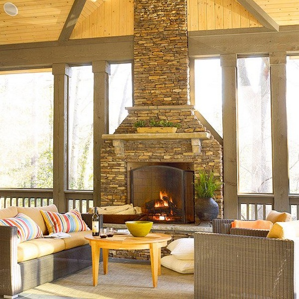 Furnishing ideas conservatory glazed fireplace natural stone