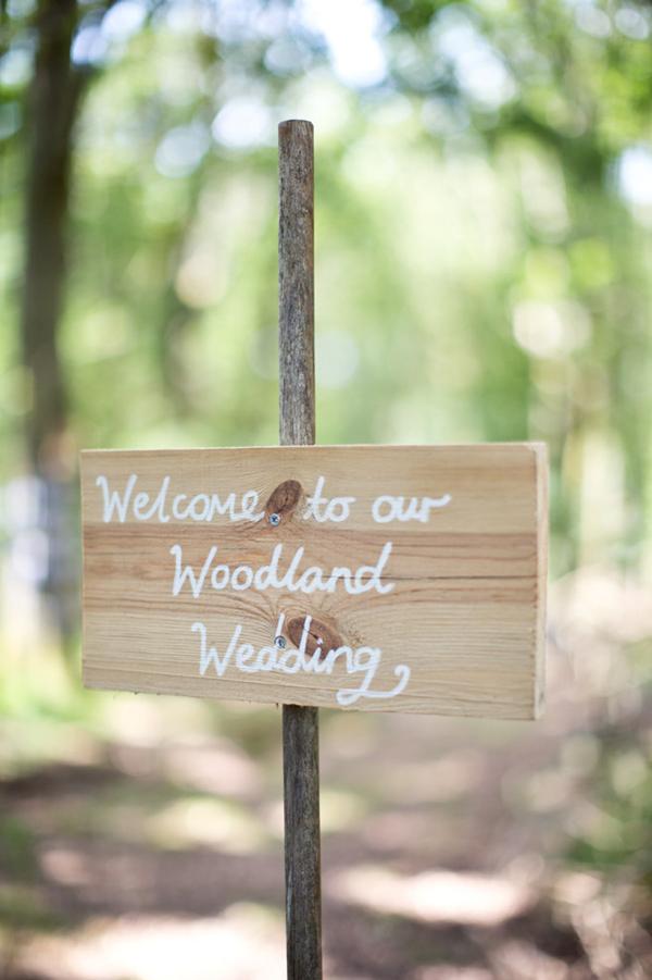 woodland wedding, wooden sign