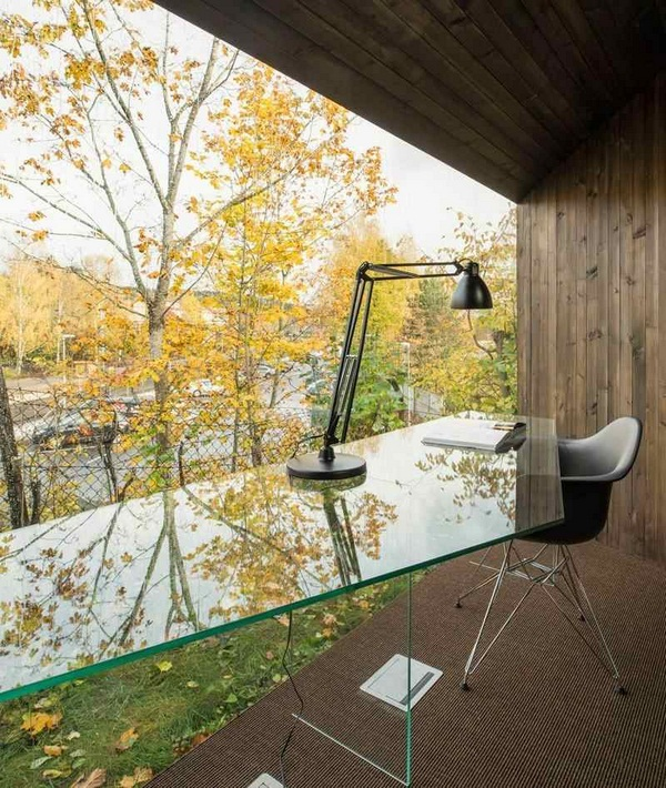panoramic windows study outside asymmetrically house modern architecture lighting viewpoint