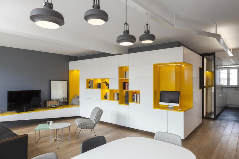 Cosy Yellow Apartment Decorating by Agence Glenn Medioni, Paris, France