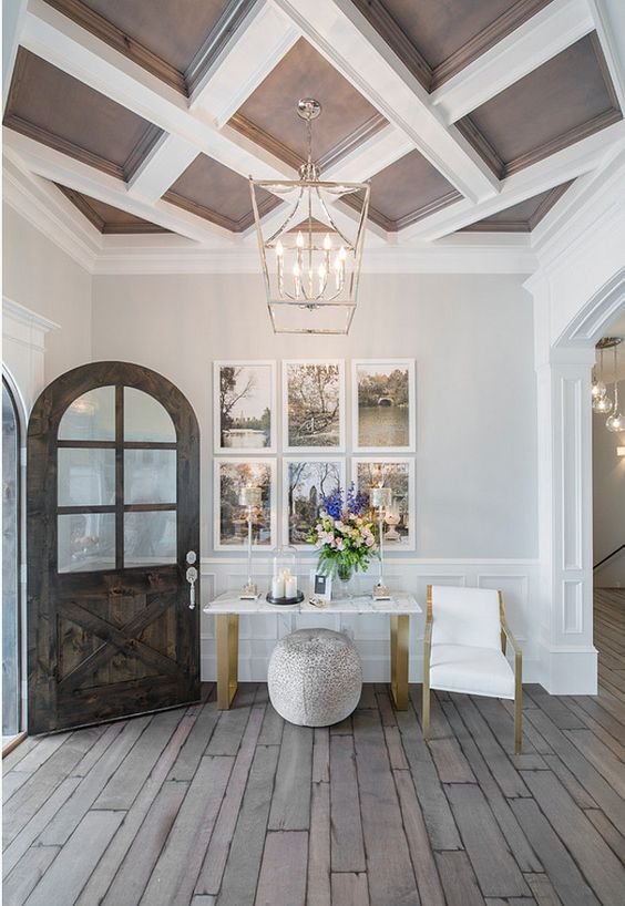 dark wood and white entryway coffered ceiling