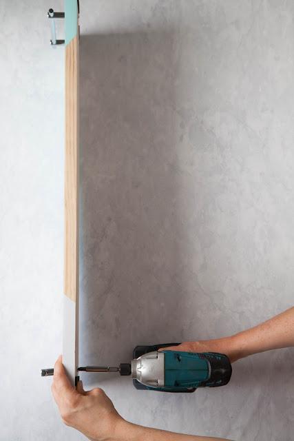 DIY Geometric Bath Shelf With Handles