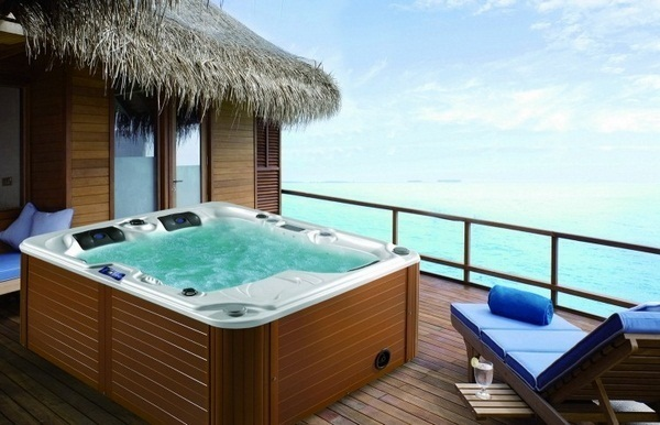Jacuzzi garden swimming pool area spa evening lighting sunset luxury