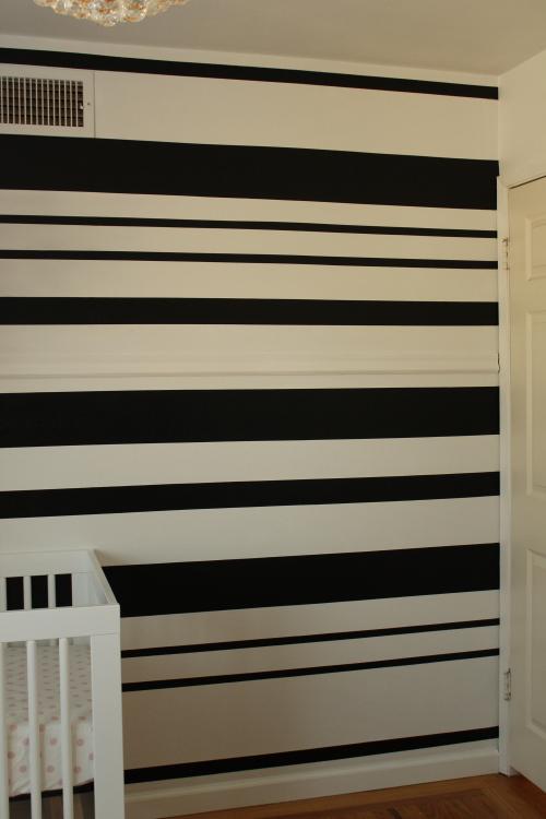 DIY black and white stripe stencil wall
