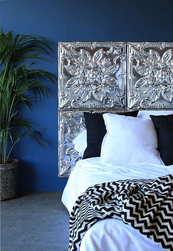 pressed tin tiles headboard