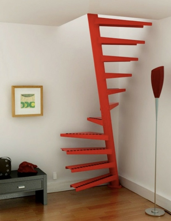 Red modern space saving stairs