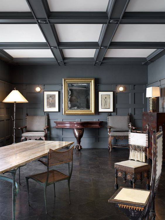 black and white living room coffered ceiling