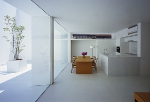 dining room concrete house interior design modern minimalist Japanese wall glazing