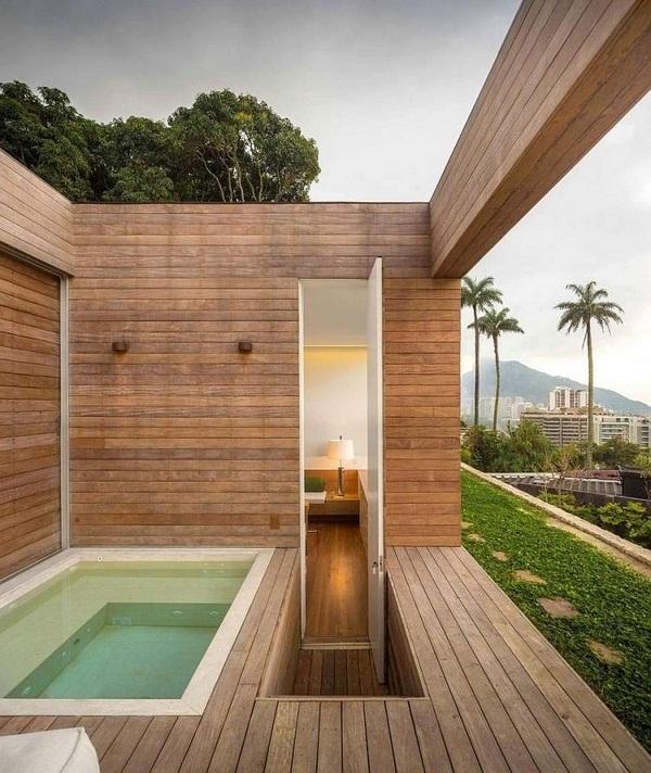 Whirlpool garden luxury built terraced outdoor large gray