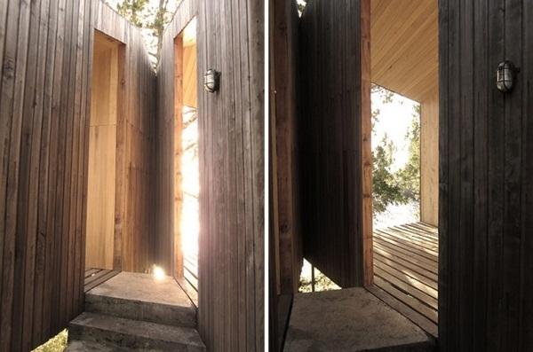 entrance stairs stone wood sauna design