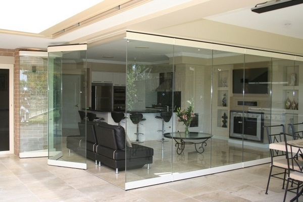 Folding Doors Inside Glass Edge White Living Room Dining Wall Dividing