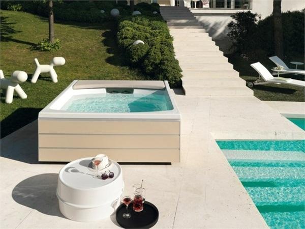 outside detached garden hot tub designs