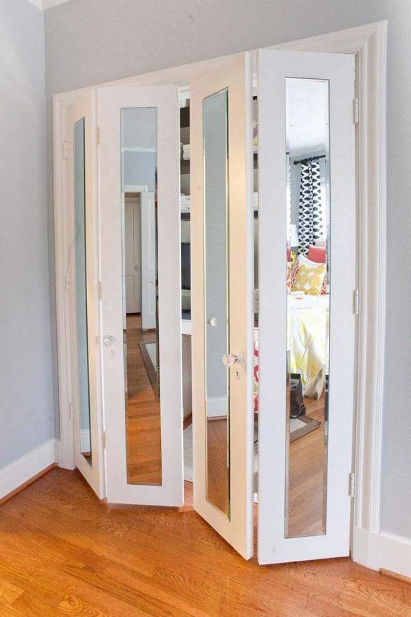 folding in reward walk-in wardrobe white mirror fronts parquet flooring