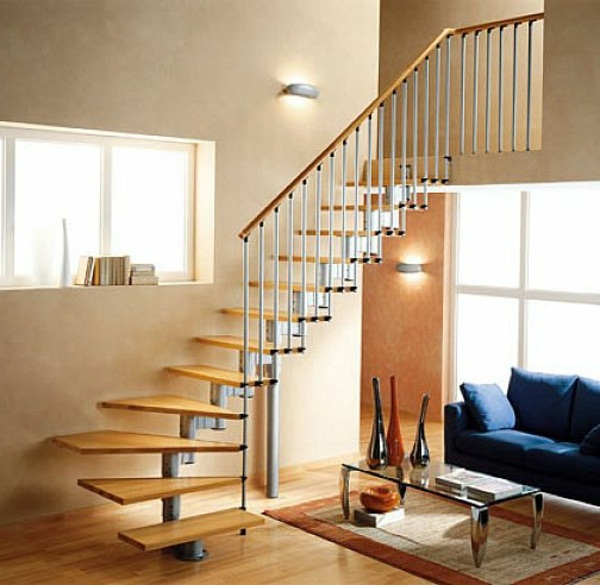 Wooden stairs living idea