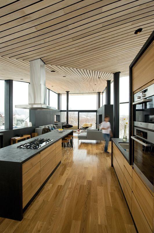 sculptural plank wooden ceiling