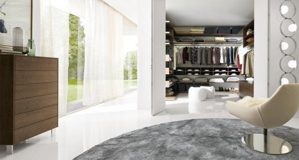 folding in Ward walk-in wardrobe modern design armchair window wall white