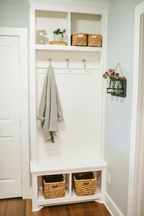 tiny white mudroom