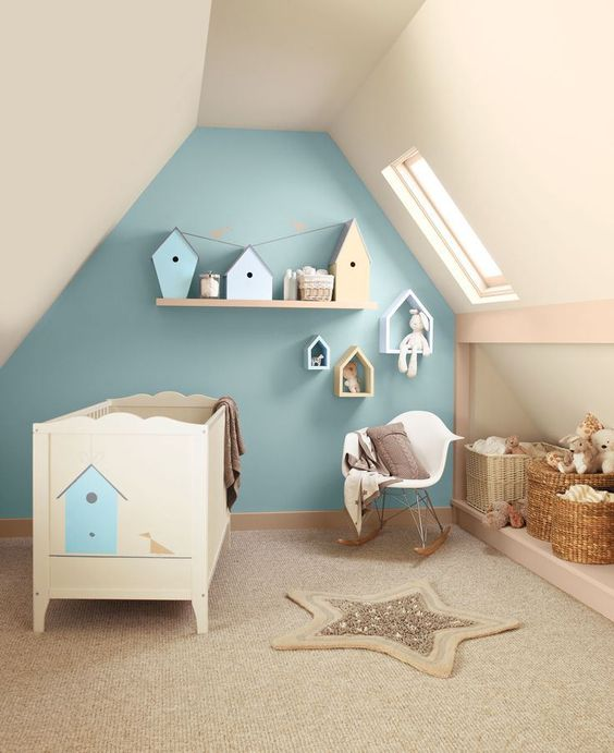 pastel attic boy's room