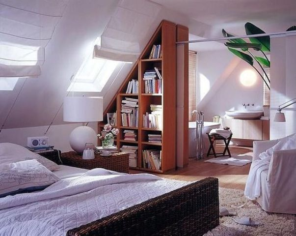 under the roof triangular bookcase