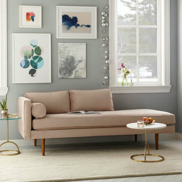 Check off daybed and trendy living room in one with the Rose Quartz Monroe by West Elm. chic daybeds 10 Chic Daybeds to Lounge on in your Living Room daybeds1 koket love happens