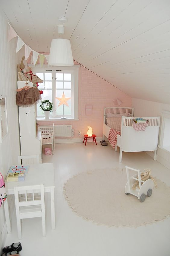 pink and white attic girl's room