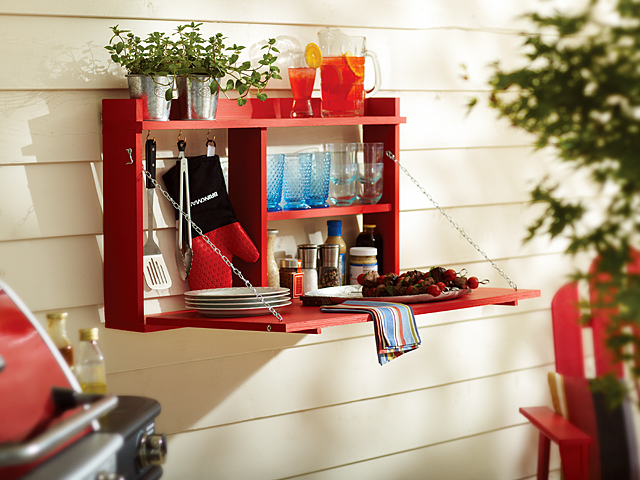 DIY bar or buffet fold down cabinet