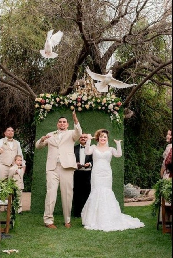 Among pigeons for wedding flowers scratch