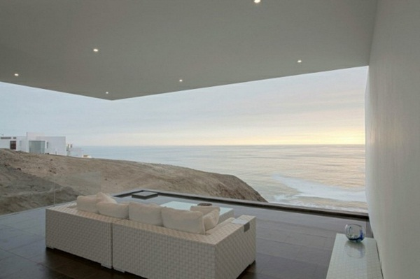 white minimalist architecture house with panorama