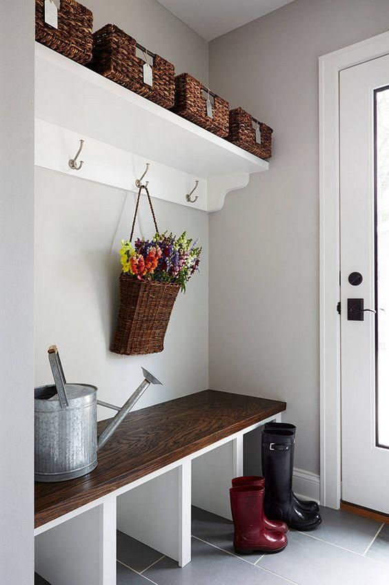 built in mudroom bench and shelving
