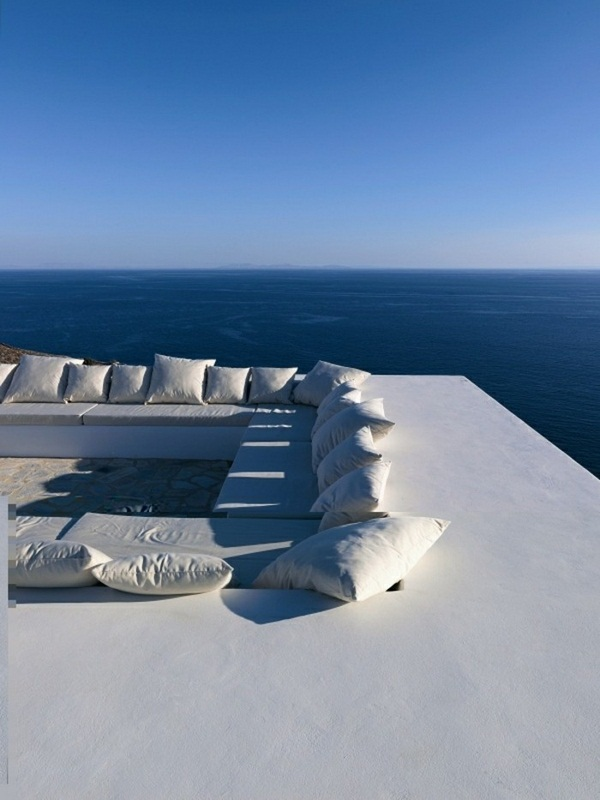 many pillows Placed outside house with panorama