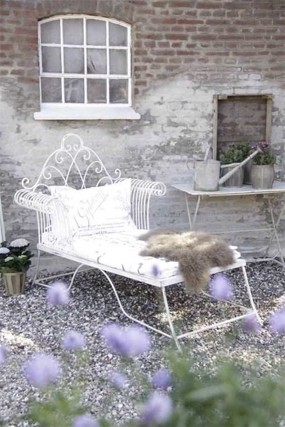 white forged shabby chic lounger