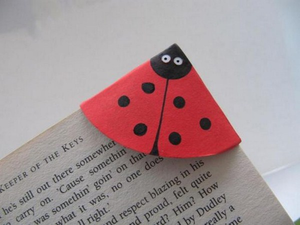 Origami even make bookmarks lady bug