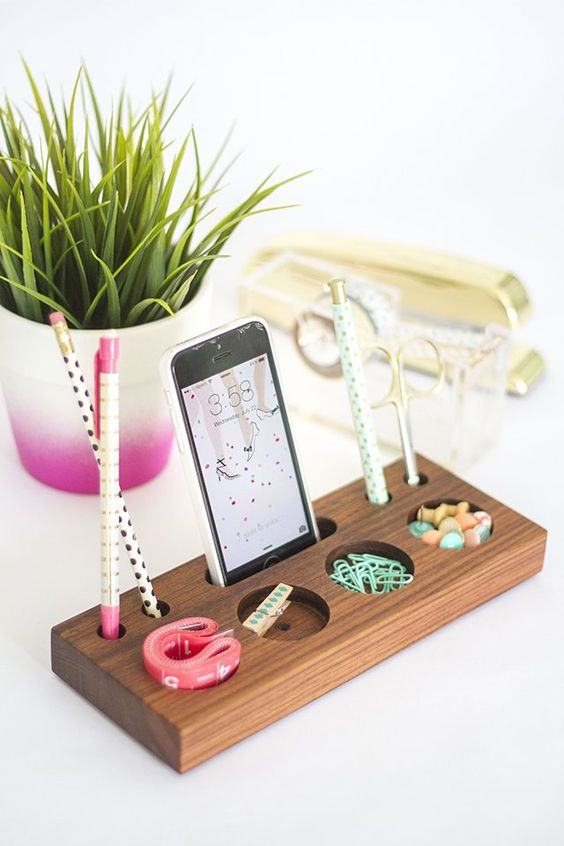 block wood small stuff organizer