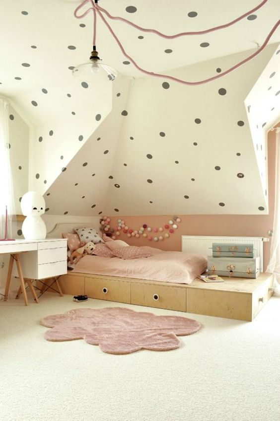 blush and polka dot attic girls' room