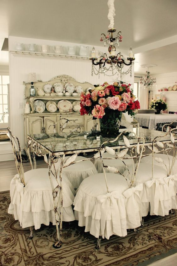 shabby metal dining chairs with ruffled slipcovers