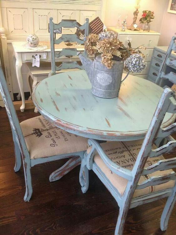 distressed blue dining set
