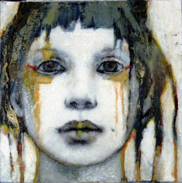 Contemporary painting the face of a girl