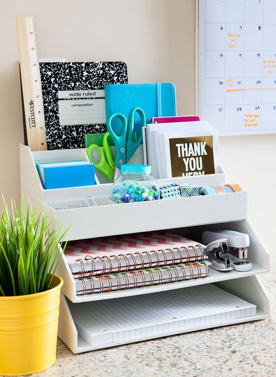 simple layered white desk organizer