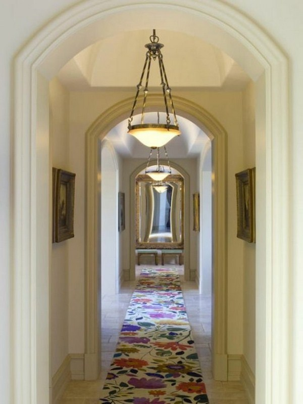 Carpet in the hallway floral prints colorful