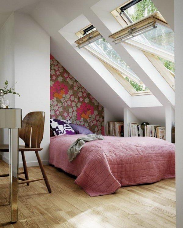 fitted bookshelves under the eaves