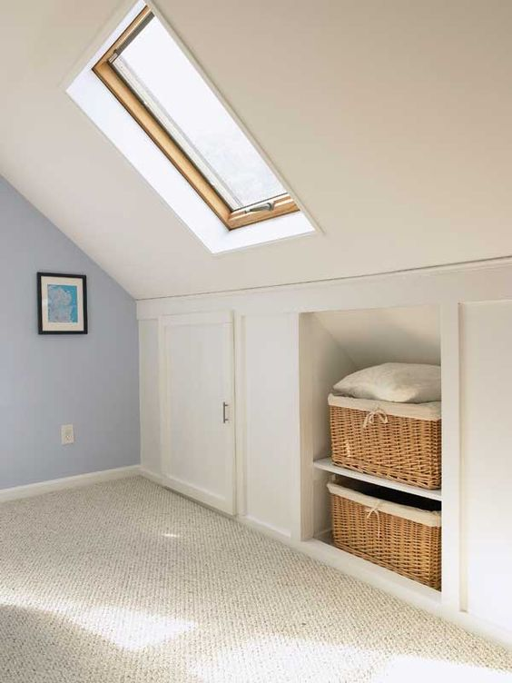 attic storage with cubbies and compartments