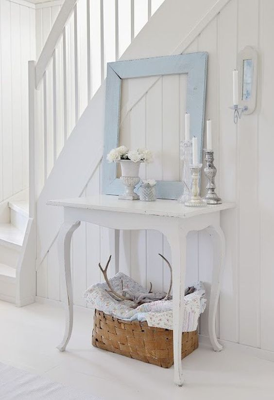 shabby chic hallway with rustic touches