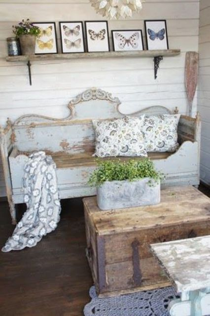 distressed pastel bench
