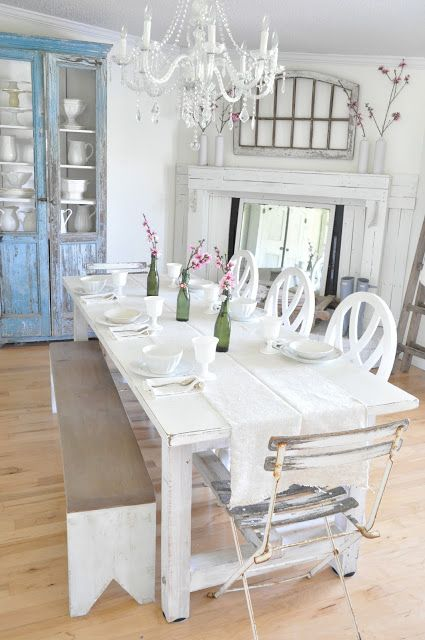 whitewashed aged dining furniture