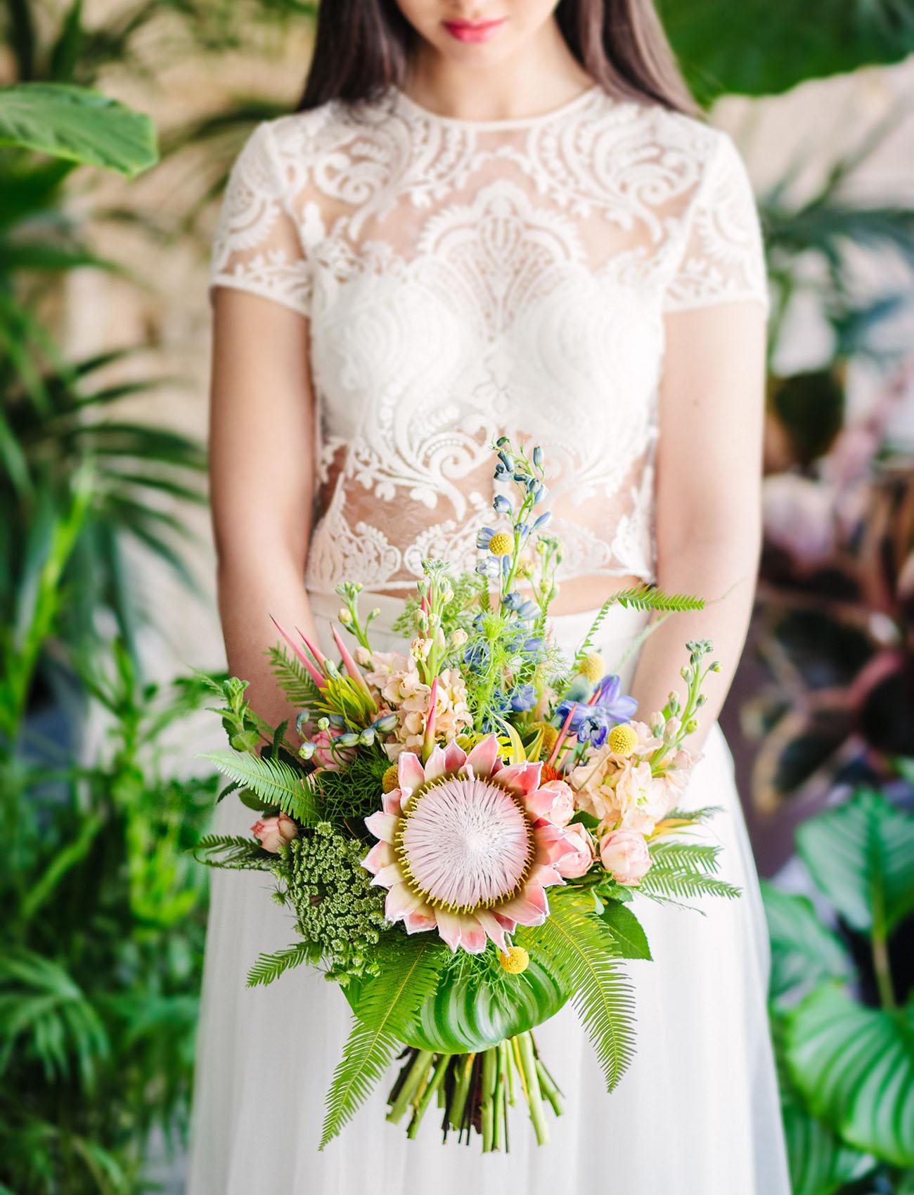 pastel protea bouquet