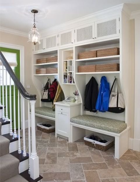open shelving with cabinets above
