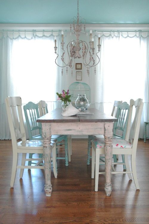 serenity and aged white shabby chic dining room decor